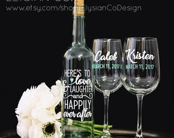 Bride and Groom Wine Glass Set + DIY Wine Bottle Decal, Wedding Glass, Engagement Gift, Bridal Party, Wedding Wine Glass