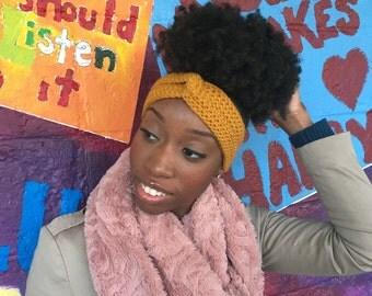 Great Knot Crochet Headband, Great Knot Crochet ear warmer, crochet turban, mustard headband, gift for daughter, holiday gift, head wrap