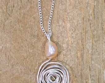 Pearl Silver Spiral Necklace