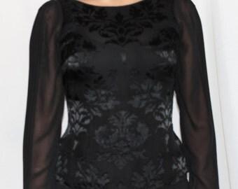 White House Black Market blouse, sheer sleeves