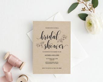UK Australia Wedding, Bridal Shower Invitation Template,Rustic Bridal  Shower Wedding Printable,Wedding