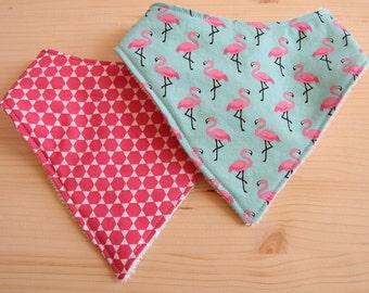 Handmade Baby Bandana Style Dribble Bibs - Baby to Toddler (Flamingoes and Pink)