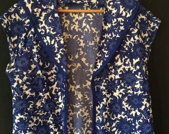 Vintage Handmade Sailor Collar Jacket Shirt with Blue and White pattern