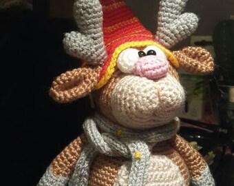 Small crochet reindeer / handmade reindeer / crochet toy / stuffed reindeer / crochet amigurumi
