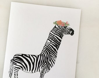 "Zebra Flower Child 8"" x 10"" Print"