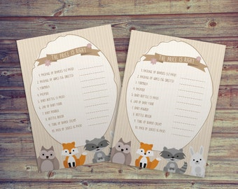 Baby Shower: Price Is Right Game   Woodland Theme (With Answers) PRINT AT