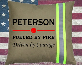 Firefighter TAN Pillow - Fueled by Fire, Driven by Courage with Family Name