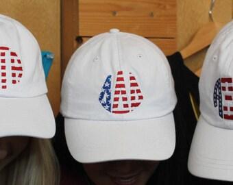 Greek Letters Hat, Sorority Hat, Sorority Letters, Greek Monogram, America Hat, Fourth of July Hat