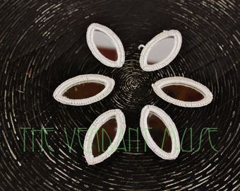 Set of SIX Small White Shisha Mirrors for Tribal Fusion, ATS & Tribal Bellydance Costume Design