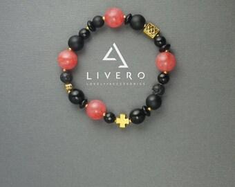 Rose quartz bracelet, Shungite bracelet, Onyx bracelet, Handmade with rose quartz, onyx, lava and shungite beads, Gift for girlfriend