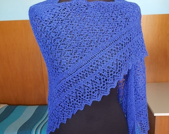 Indigo blue triangular lace shawl.