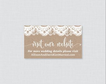 Printable OR Printed Wedding Website Cards - Burlap and Lace Wedding Website Invitation Inserts - Rustic Small Wedding Details Cards 0002