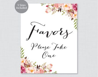 Printable Wedding Favors Sign - Pink Floral Wedding Favor Sign - Pink Flowers Favors Please Take One Sign, Rustic Favor Table Sign 0004