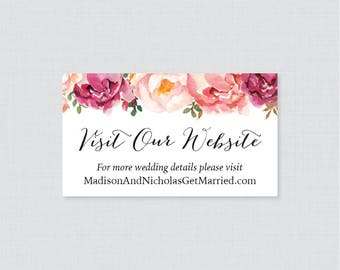 Printable OR Printed Wedding Website Cards - Pink Floral Wedding Website Invitation Inserts - Rustic Flower Small Wedding Details Cards 0004