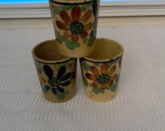 20% off Vintage 3 Japanese Flower Saki Cups Made in Japan // Tea Cups // Saki Cup // Tea Caddies