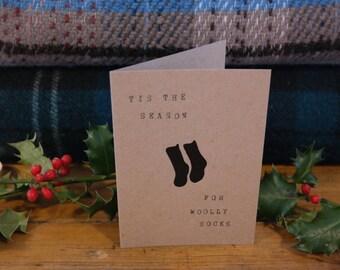 Christmas Card. ' 'Tis the Season for Woolly Socks' Handmade Brown Kraft Christmas Card, with Sock design.