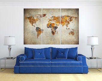 Grunge World Map Leather Print/Large World Ma/Extra Large World Map/Wall Decor/Multi Piece World Map/Better than Canvas!