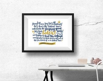 Quinnipiac University Print with Custom Digital Calligraphy