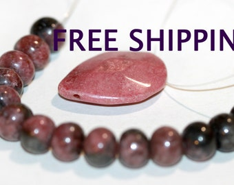 Rhodonite 8mm Rondelle Smooth Polished Beads Strand of 16 plus Free matching Pendant FREE SHIPPING
