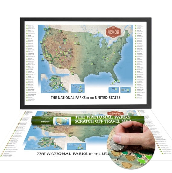 The National Parks Scratch Off Travel Map by Mappinners