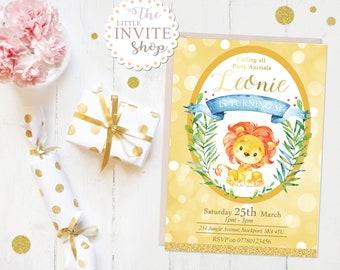 Baby Lion Invite | Birthday Party Invitation | Jungle Safari Animals | Digital Download Customised Personalised | Printable