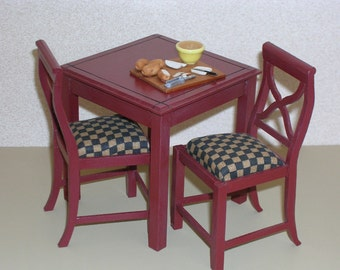 DOLLHOUSE MINIATURE Two tall chairs and table
