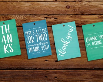 Thank You Wine Tags | Dinner Party Wine Tags  | Say Thanks | Set of 12