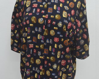TRACY EVANS Vintage Tracy Evans Made In USA Button Down Shirt Blouse Size Women's L