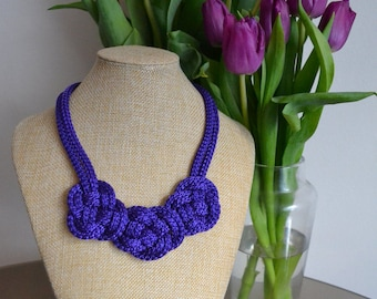 Purple nautical necklace-  Rope knot necklace- Crochet necklace- Knotted Necklace- Bib necklace- Rope jewelry- Christmas gift for her