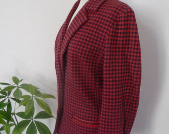 Blazer / jacket DESARBRE, made in France / red and black / size 42, USA 10, Plaid, vichy / Vintage, wool, cotton, wool