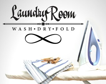 Laundry Room Wash Dry Fold  Laundry Vinyl Wall Quote