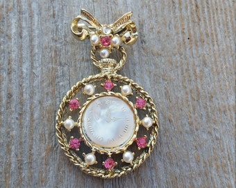 Faux Mother of Pearl Clock Brooch
