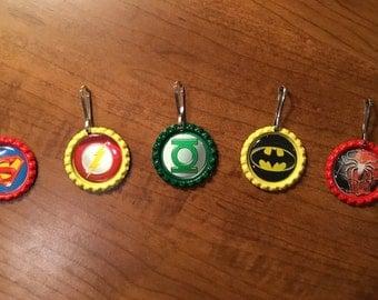 Handmade Super Heros BottleCap Zipper Pulls