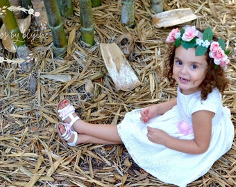 """The """"Baby Madison"""" floral halo crown // Sheer Ribbon Adjustable Floral Crown, White and Pinkish Peach Roses , Flower Girl, Birthdays"""