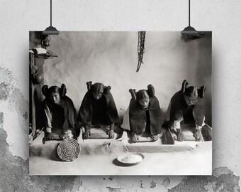 Native American Photo, Indigenous American Women, Hopi Women, Photograph of American Indian, Black White Photography