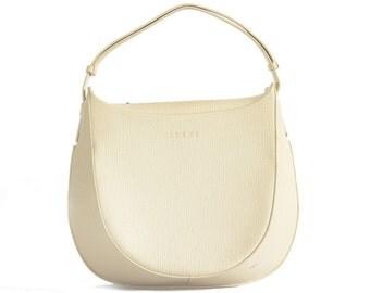 1970s Loewe ivory leather shoulder bag