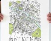 "Illustration Art Paris screen print Poster size A3 ""Color"""