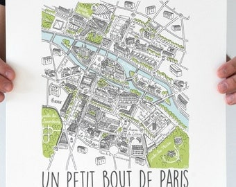 "Illustration Art Paris screen print Poster size A3 ""Color"""