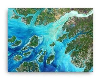 Guinea-Bissau Coast Satellite Image Canvas Print
