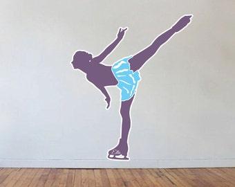 Figure Skating Wall Decal Skating Wall Decal Custom Name 50 Colors 2 Colors Per Image Various Sizes Easy U Install