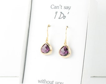 Tiny Amethyst Gold Earrings, Gold Amethyst Earrings, Purple Wedding Jewelry, Bridesmaid Gift, Bridesmaid Earrings, Purple Bridal Accessories