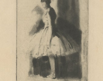 """AUGUSTE BROUET (French, 1872-1941), """"Ballet Dancer"""", ca. 1920, original etching, pencil signed"""