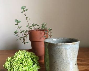 Vintage Ceramic Tea Cup // Speckled Green Pottery Cup