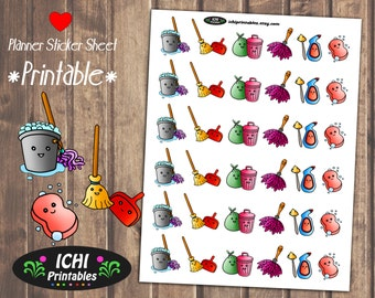 Cleaning Printable Planner Stickers, Planner Stickers, House Cleaning Stickers, Housework, Erin Condren, Functional Stickers, Print & Cut