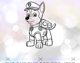 Paw Patrol Chase SVG DXF Vector Cut Files Cricut Design Silhouette Party Supply Decoration Vinyl Decal Tshirt Paper Craft Stencil Template