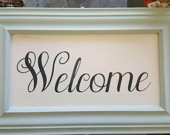 Wood Framed Welcome Sign