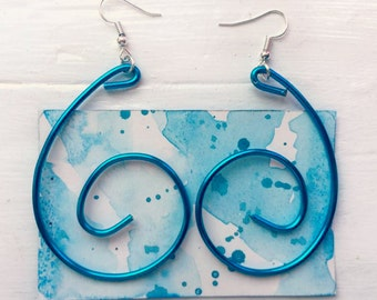SALE - Handmade Blue Swirl Earrings
