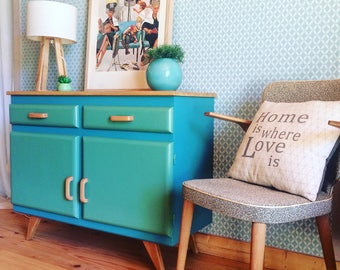 Lovely kitchen vintage low dresser. 1950 s. french vintage. Kitchen furniture a new look. Storage. Blue and green.