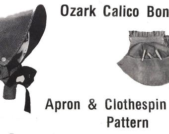 Vintage Sewing Pattern Ozark Calico Bonnet Apron Peg Bag Prairie