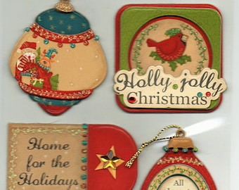 Christmas Chipboard 3D Glitter Tag Stickers Forever In Time Scrapbook Embellishments Cardmaking Crafts